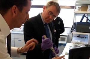 Robert Goodwill MP visiting a drug testing laboratory.