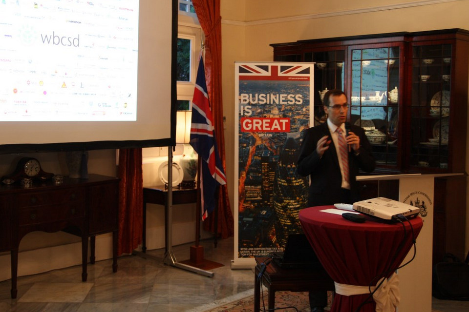 Executive Director Constant van Aerschot of Business Council for Sustainable Development Singapore talking about sustainable development during the reception