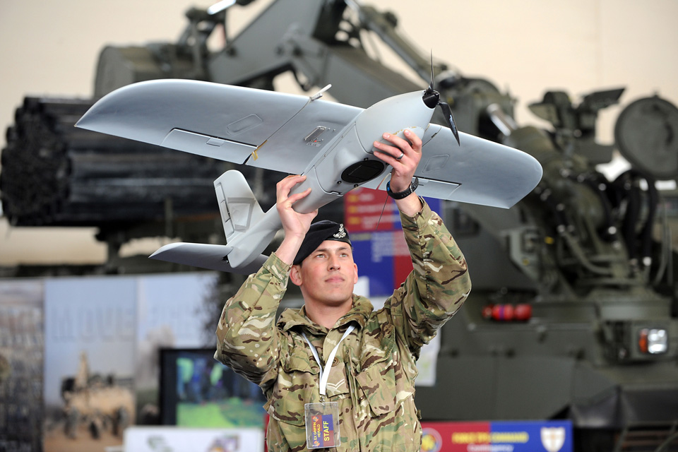 A soldier with an unmanned air system