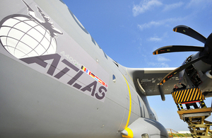 An Airbus Defence and Space technician works on the propeller housing of an A400M Atlas in Seville [Picture: Senior Aircraftwoman Helen Farrer, Crown copyright]