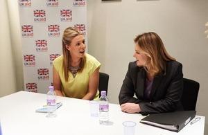 ICS volunteer Alexandra Kirkham with Justine Greening at the ICS Entrepreneur launch. Picture: ICS