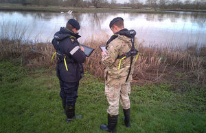 Military personnel carry out flood inspections on behalf of the Environment Agency in the South West.