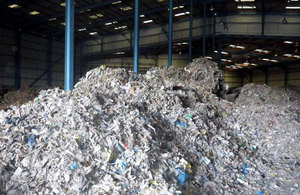 Illegal waste dumped in a warehouse