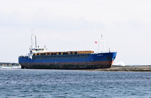 MV Danio grounded in the Farne Islands