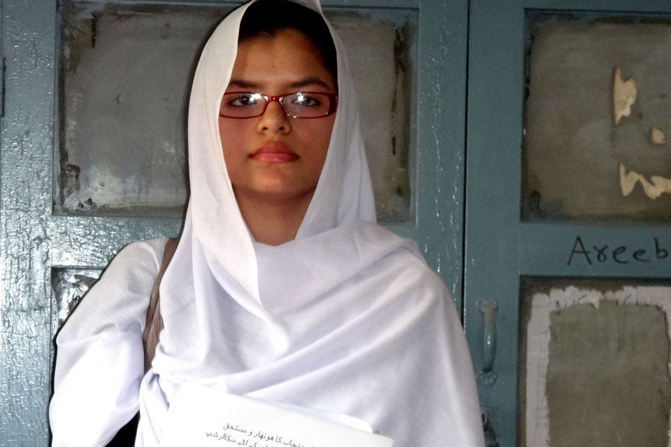 Aimen is one of 7,500 girls from across 11 of the poorest districts in southern Punjab to receive scholarships funded by UK aid to complete their intermediate education.