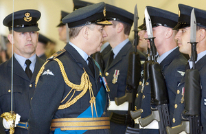 The Duke of York inspects the parade at RAF Lossiemouth [Picture: Sergeant Stu Fenwick RAF, Crown copyright]