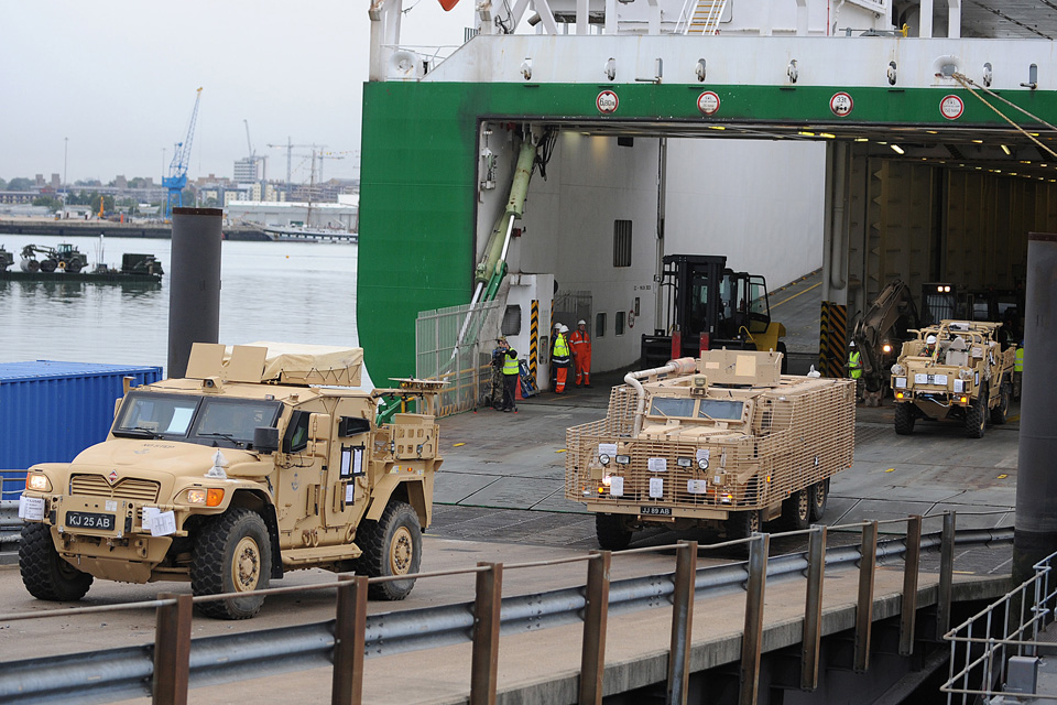 British military vehicles arrive back in the UK