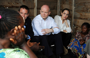 The Foreign Secretary and Special Envoy of the UN High Commissioner for Refugees, Angelina Jolie, visiting Nzolo Displacement Camp, near Goma, eastern DRC.