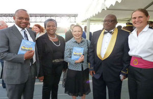 British High Commissioner flanked by Namibian dignitaries and CO Commander Sarah West
