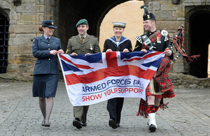 Service personnel launching Armed Forces Day 2014 at Stirling Castle [Picture: Mark Owens, Crown copyright]