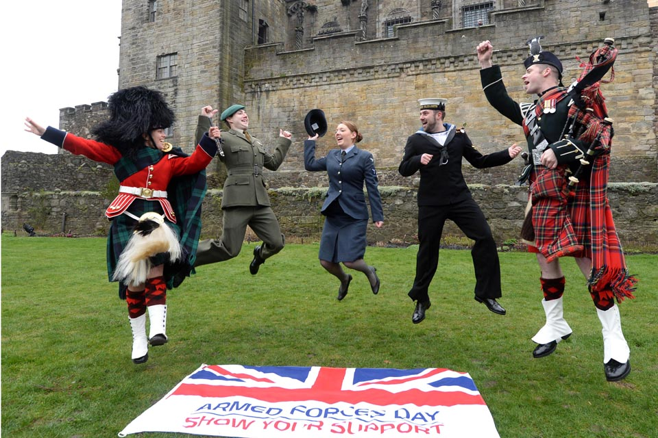 Service personnel celebrate the launch of Armed Forces Day