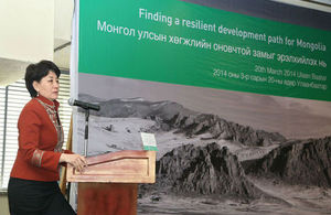 MP Oyun S, Minister for Environment and Green Development, speaks at the 'Finding a resilient development path for Mongolia' workshop on 20 March 2014 in Ulaanbaatar, Mongolia