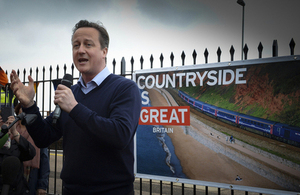David Cameron gives a speech at Dawlish station.