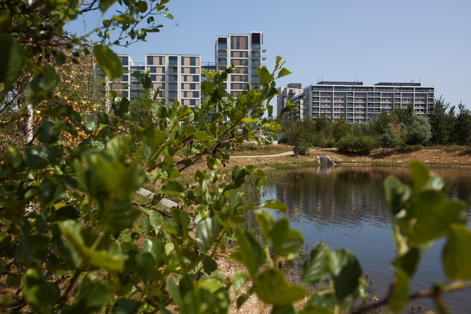 The Waterglades wetlands area in London's East Village