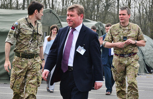 Mark Francois at the Combined Joint Task Force Headquarters at RAF Halton during Exercise Joint Warrior [Picture: Corporal Obi Igbo, Crown copyright]