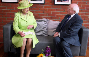 Queen Elizabeth II and President Michael D. Higgins during a visit to the Lyric Theatre in Belfast in 2012.