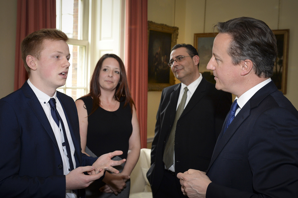 David Cameron meets flood volunteers at a Downing Street reception.