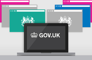 "A laptop with text saying ""GOV.UK"""