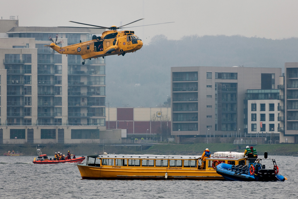 The RAF Sea King hovers over the scene of the incident