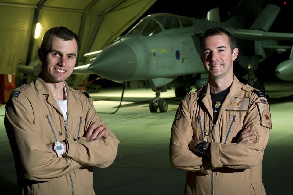 Pilot Flight Lieutenant Geoff Williams (left) and navigator Flight Lieutenant Mark Hodgkiss