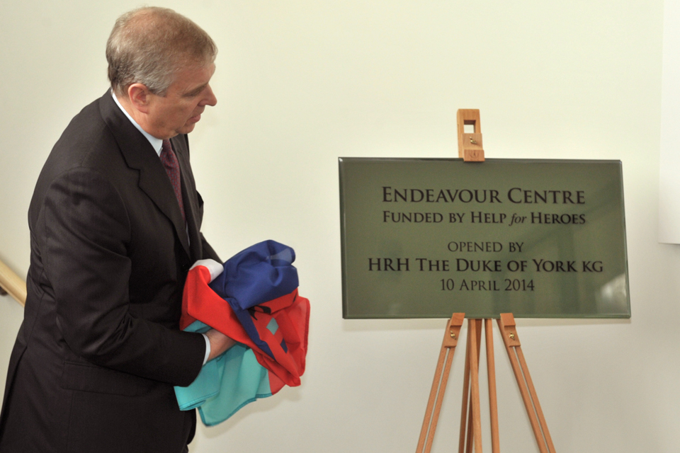His Royal Highness The Duke of York officially opens the naval service recovery centre in Plymouth [Picture: Petty Officer Airman (Photographer) 'Mac' Macdonald, Crown copyright]