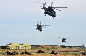 Merlin helicopters of the RAF insert troops of 16 Air Assault Brigade into Kinloss Airfield during Exercise Joint Warrior [Picture: Mark Owens, Crown copyright]