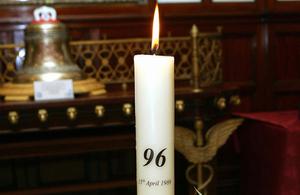 The eternal flame at the Hillsborough Memorial.