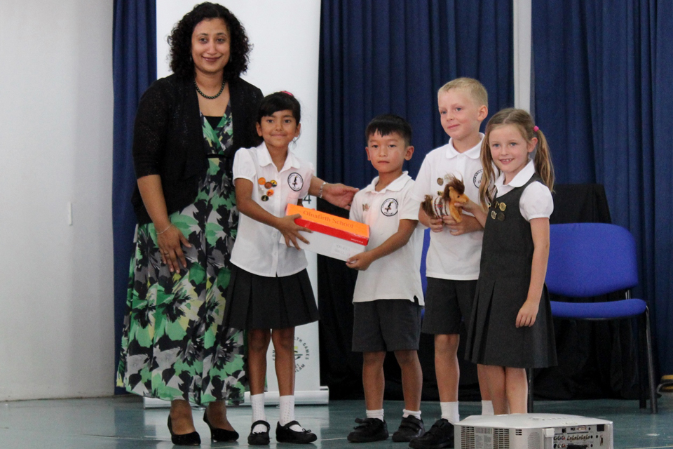Mrs Sunny Ahmed and the student representatives of Hornbill School with their Shetland pony mascot.