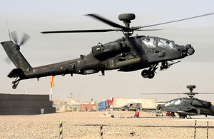 An Apache attack helicopter landing at Camp Bastion (library image) [Picture: Petty Officer (Photographer) Mez Merrill, Crown copyright]
