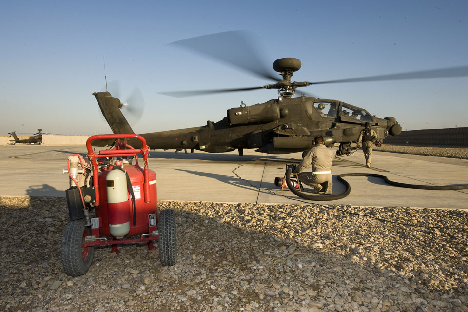 Ground crew prepare to refuel an Apache helicopter