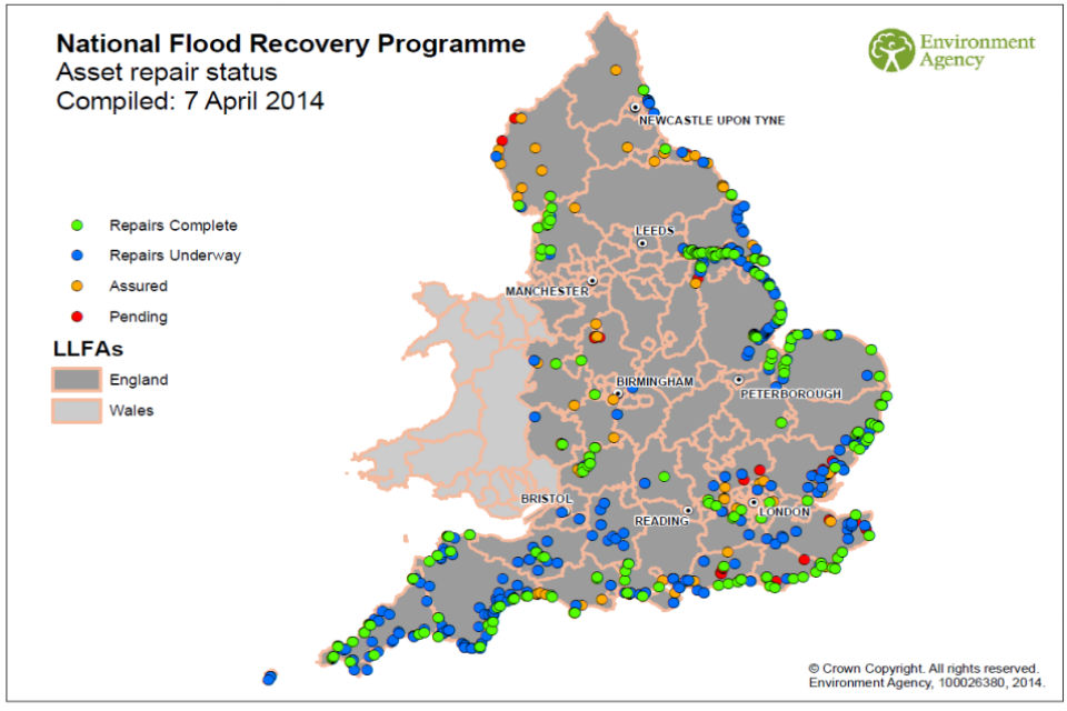 Locations of flood defences