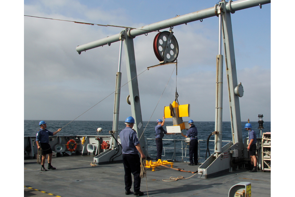 HMS Echo personnel deploy the vessel's SeaSoar vehicle