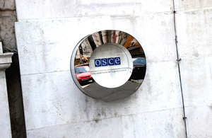 OSCE sign at the organisation's headquarters in Vienna, Austria