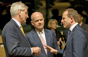 Foreign Secretary William Hague with Carl Bildt and Martin Lidegaard at the Foreign Affairs Council