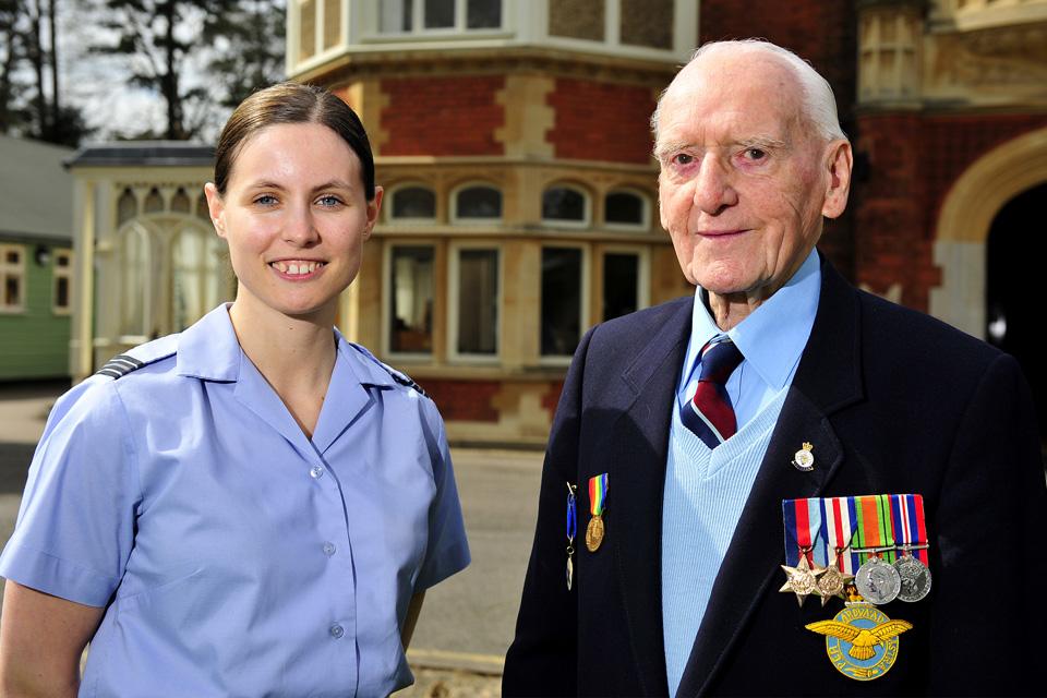 Flight Lieutenant Vikki Thorpe with Sergeant (Retired) Bernard Morgan