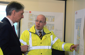 Defence Secretary at a housing construction site for Scottish armed forces veterans [Picture: Crown copyright]