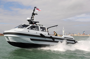 Royal Navy personnel test the remote-controlled motor boat in Portsmouth harbour [Picture: Leading Airman (Photographer) Nicky Wilson, Crown copyright]