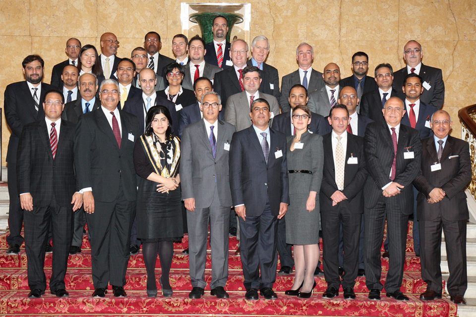 Foreign Office Senior Minister of State, Baroness Warsi with the Global Islamic Finance and Investment Group at their inaugural meeting in London, 26 March 2014.