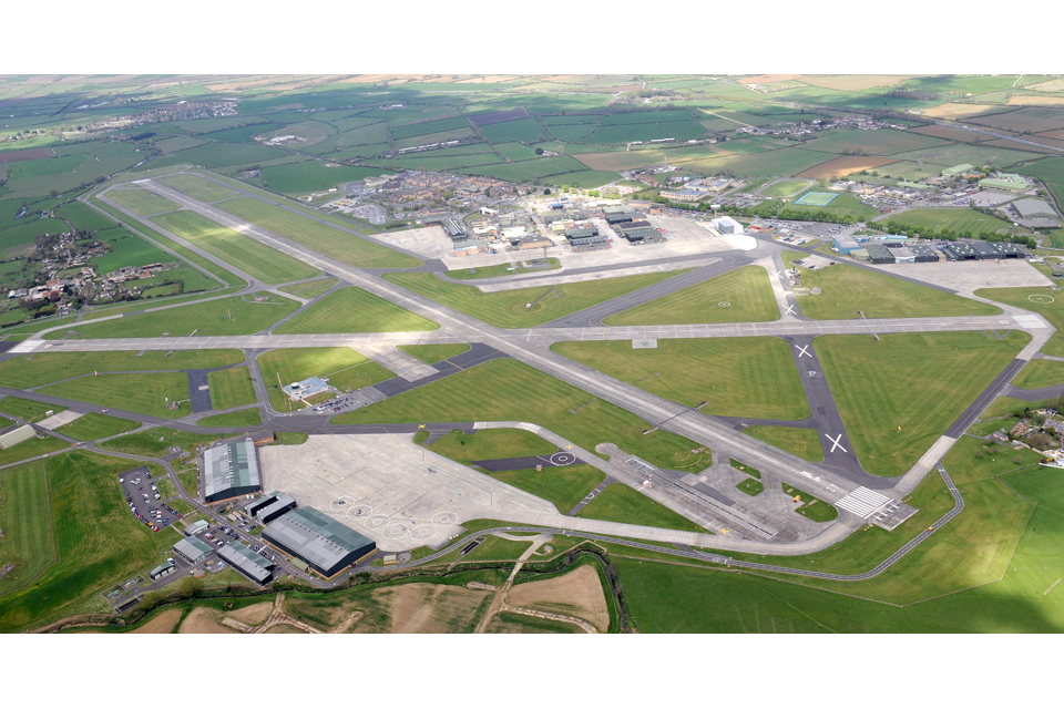 Aerial view of Royal Naval Air Station Yeovilton