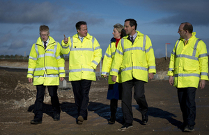 David Cameron sees progress on a road project.