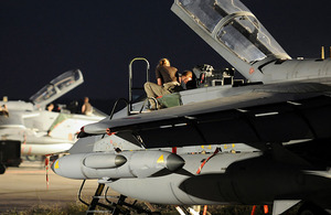 Ground crew from No 2 (Army Cooperation) Squadron RAF working on a Tornado aircraft at Gioia del Colle airbase in southern Italy