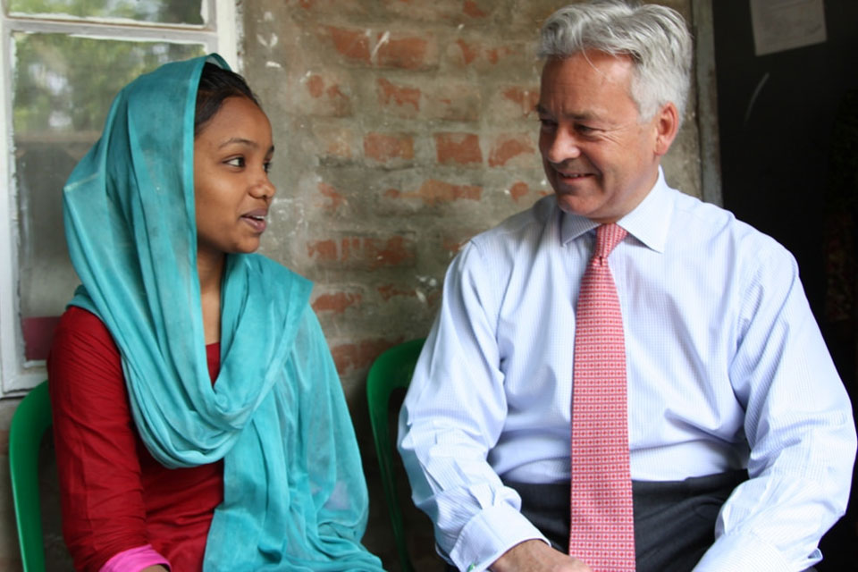 Alan Duncan meets Rabya at the CRP in Savar, Dhaka