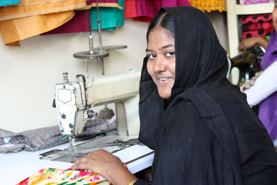 Thanks to UK aid Khaleda attended a 3-month training programme where she learnt how to make dresses. Picture: Narayan Debnath/DFID