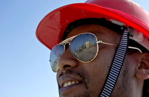 A construction worker in Addis Ababa, Ethiopia. Picture: Simon Davis/DFID