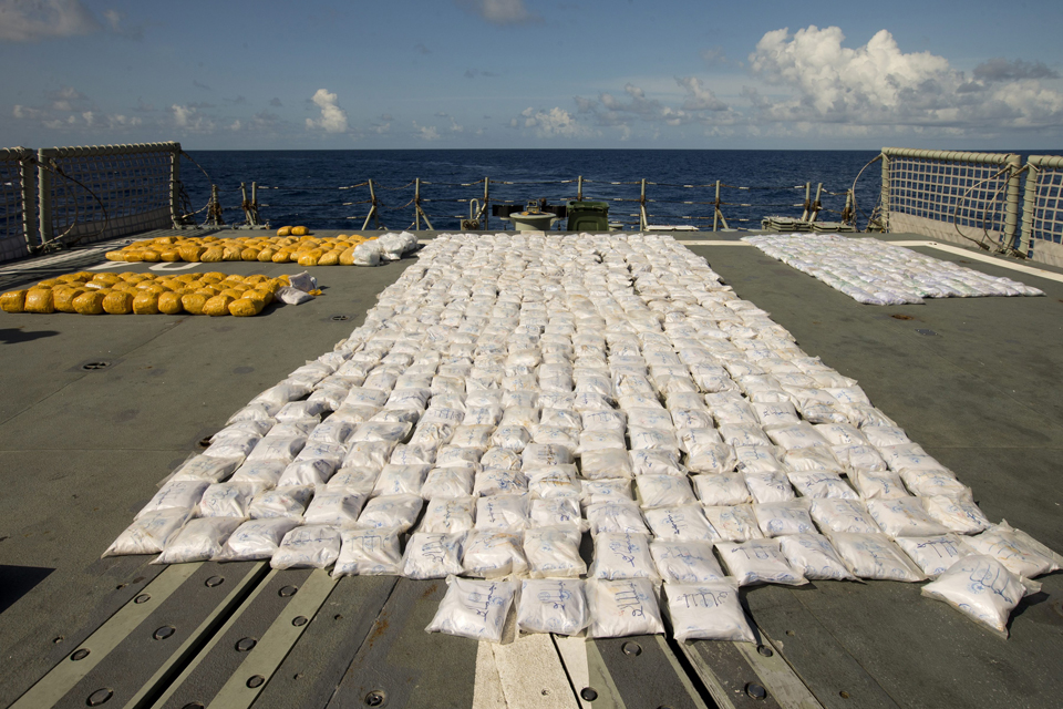 Heroin laid out on HMAS Darwin's flight deck
