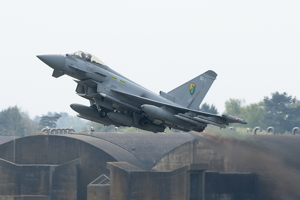 A Royal Air Force Typhoon taking off from RAF Coningsby