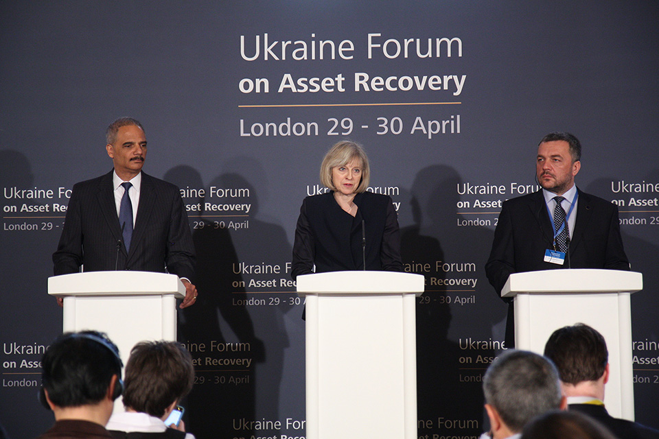 US Attorney General Eric Holder, Home Secretary Theresa May and Ukraine Prosecutor General Oleh Makhnitskyy