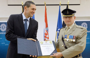 Lt Col Philip Osment, UK Defence Attaché to Croatia between 2010-13, presented with Certificate of Merit by Croatian Defence Minister.