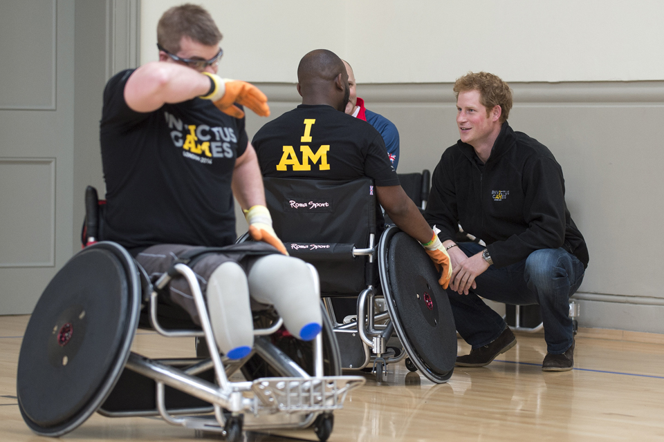Prince Harry talking to potential competitors for the Invictus Games