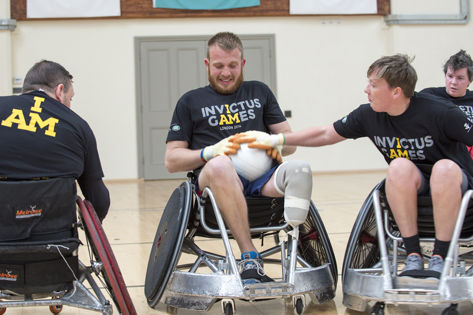 Service personnel trying out for wheelchair rugby